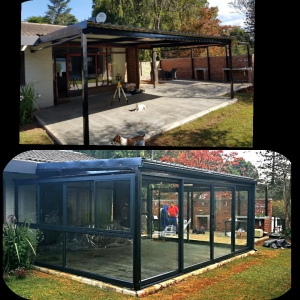 Enclosing a patio area before and after