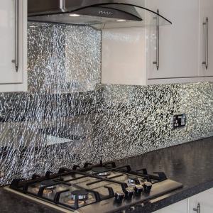 Glass patterns create  a unique look in this kitchen