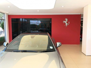 Red glass splashback look great at Ferrari Umhlanga